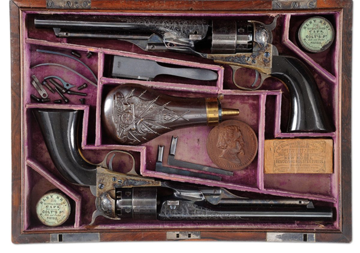 Extraordinarily Rare Cased Consecutive Numbered Pair of Exhibition Quality Colt Model 1860 Army Percussion Revolvers from the General Joseph R. Hawley Estate (Tudor Jones II Collection), Sold for $212,750