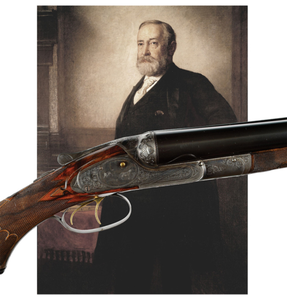 """Spectacular Presidential Lefever """"Optimus"""" Quality Shotgun, Presented to Benjamin Harrison for His """"Protection to American Industry;"""" Probably the Finest and Most Important 19th Century American Shotgun (Tudor Jones II Collection) (est. $75,000-125,000), Sold for $120,750"""