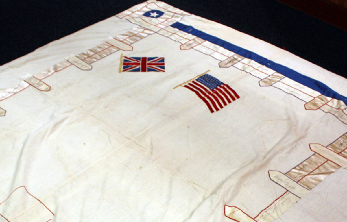 This quilt contains 89 signatures of many prominent people from around the world made at the time of the Armistice, November 11, 1918. According to some statements, it was made at the instigation of Representative Jeannette Rankin, the only women in Congress.