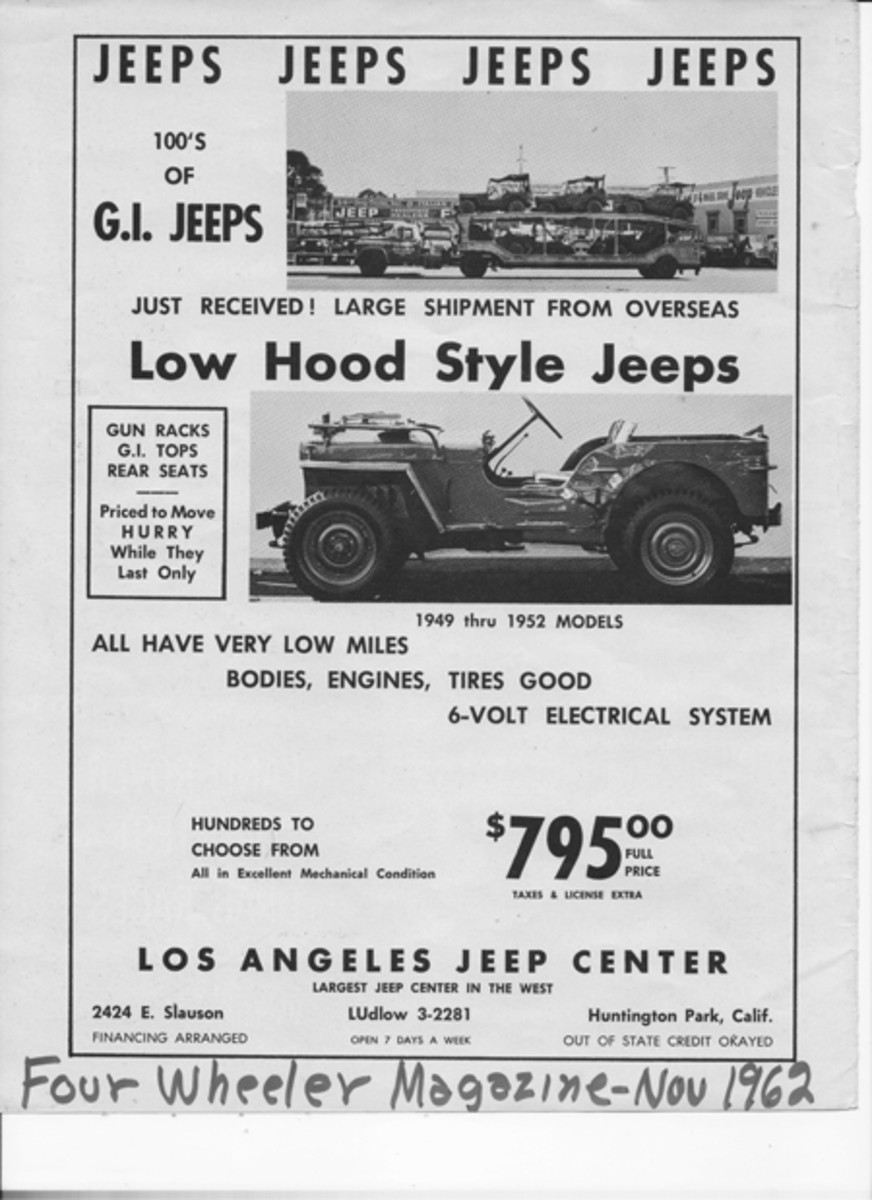 """Not a """"Jeep in a crate,"""" but still a really good bargain— Back in 1962, this ad in Four Wheeler Magazine offered """"low hood style Jeeps for $795."""