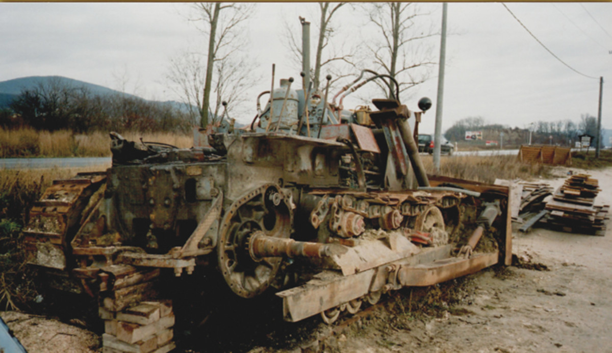 This Russian copy of CAT dozer undergoing major repairs in Budapest Hungary, was photographed in the late 1990s. Jeff Rowsam