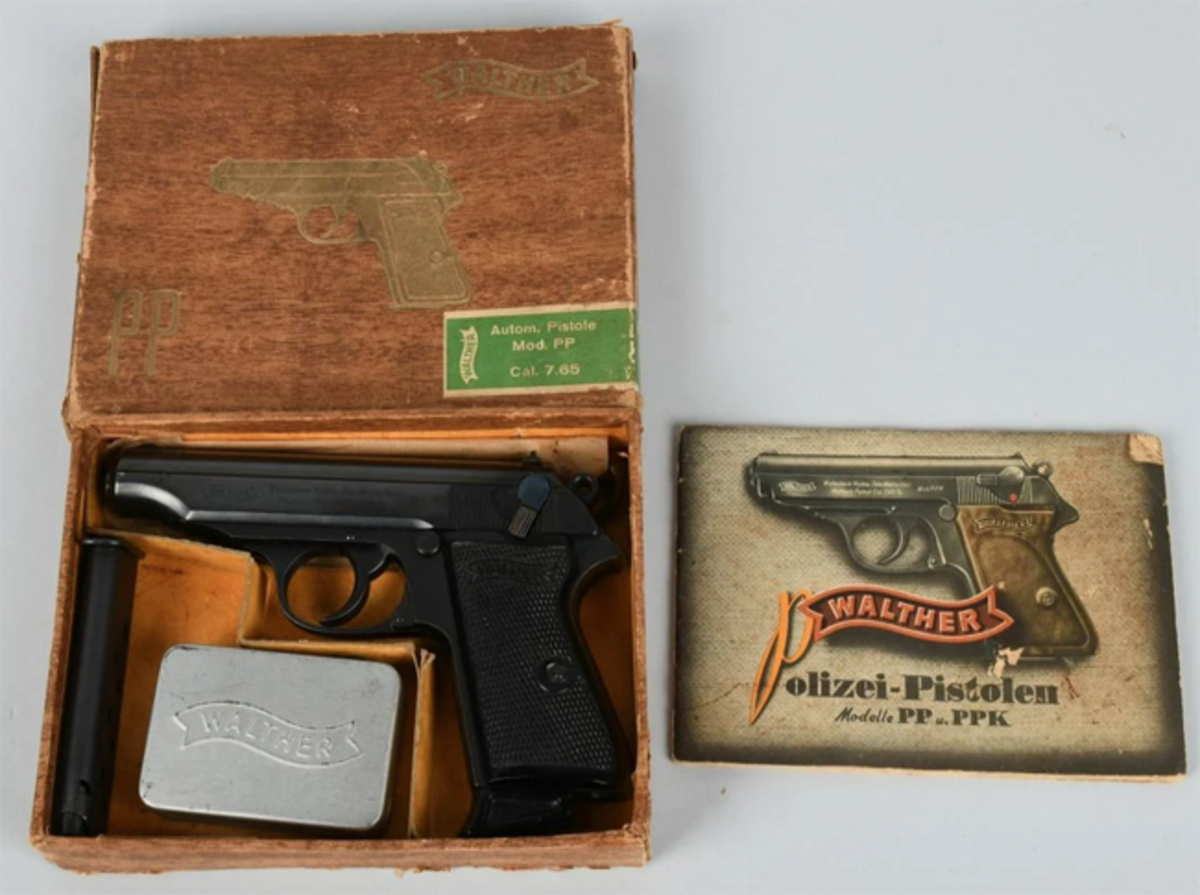 Nazi SS Walther semi-automatic Police Pistol, 7.65, eagle 'N' proofs on slide and barrel, with accessories in original factory box.