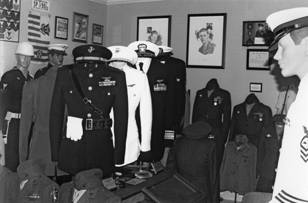 This shows a portion of the Navy / Marine Room. Again, all of it is WWII-era U.S. Approximately 93% of everything you see in Jack's collection was obtained directly from the veteran or his/her family from the greater Kansas City area.