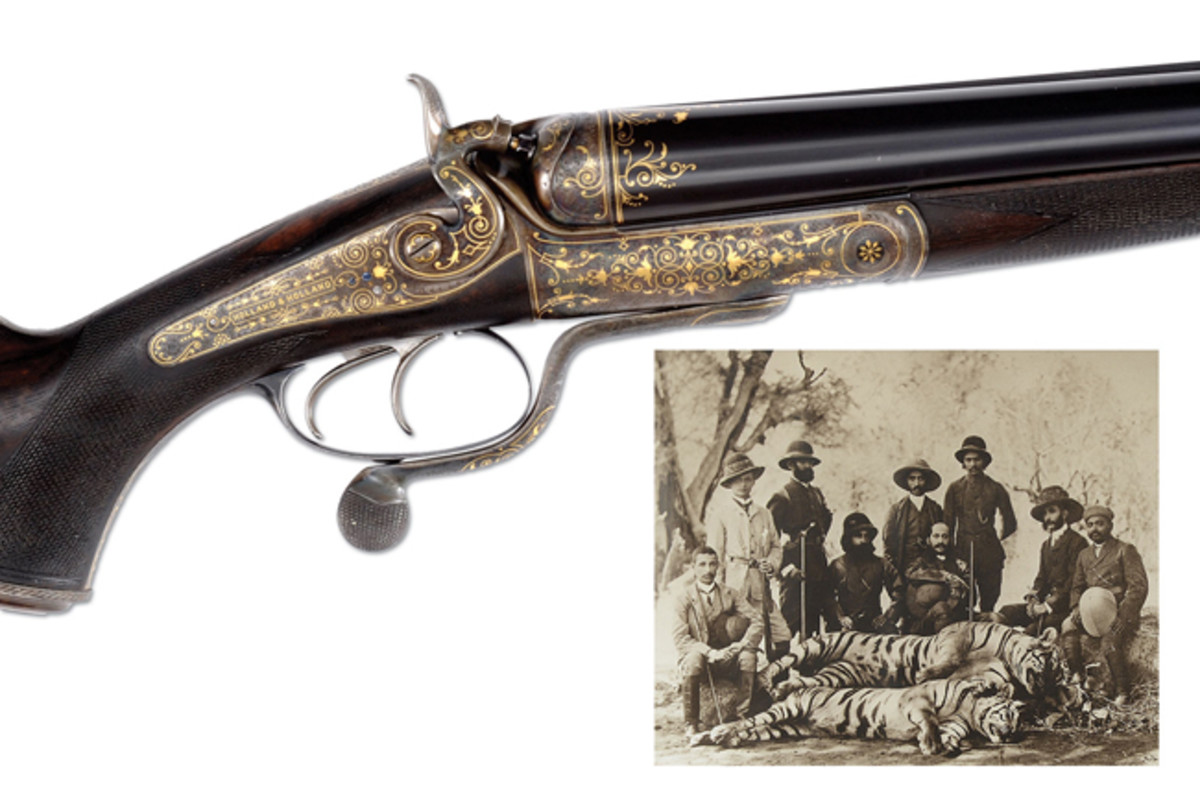 Incredible Four Bore Holland & Holland Hammer Double Rifle Made for the Nizam of Hyderabad with Original Case and Full Complement of Original Accessories (est. $80,000-120,000), Sold for $258,750