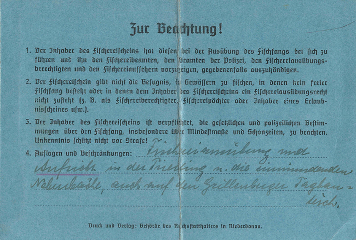 On the reverse is the handwritten statement that Josef Hessler is permitted to fish under supervision in the Triesting [River], its tributaries and in water-filled mining pits near Grillenberg.
