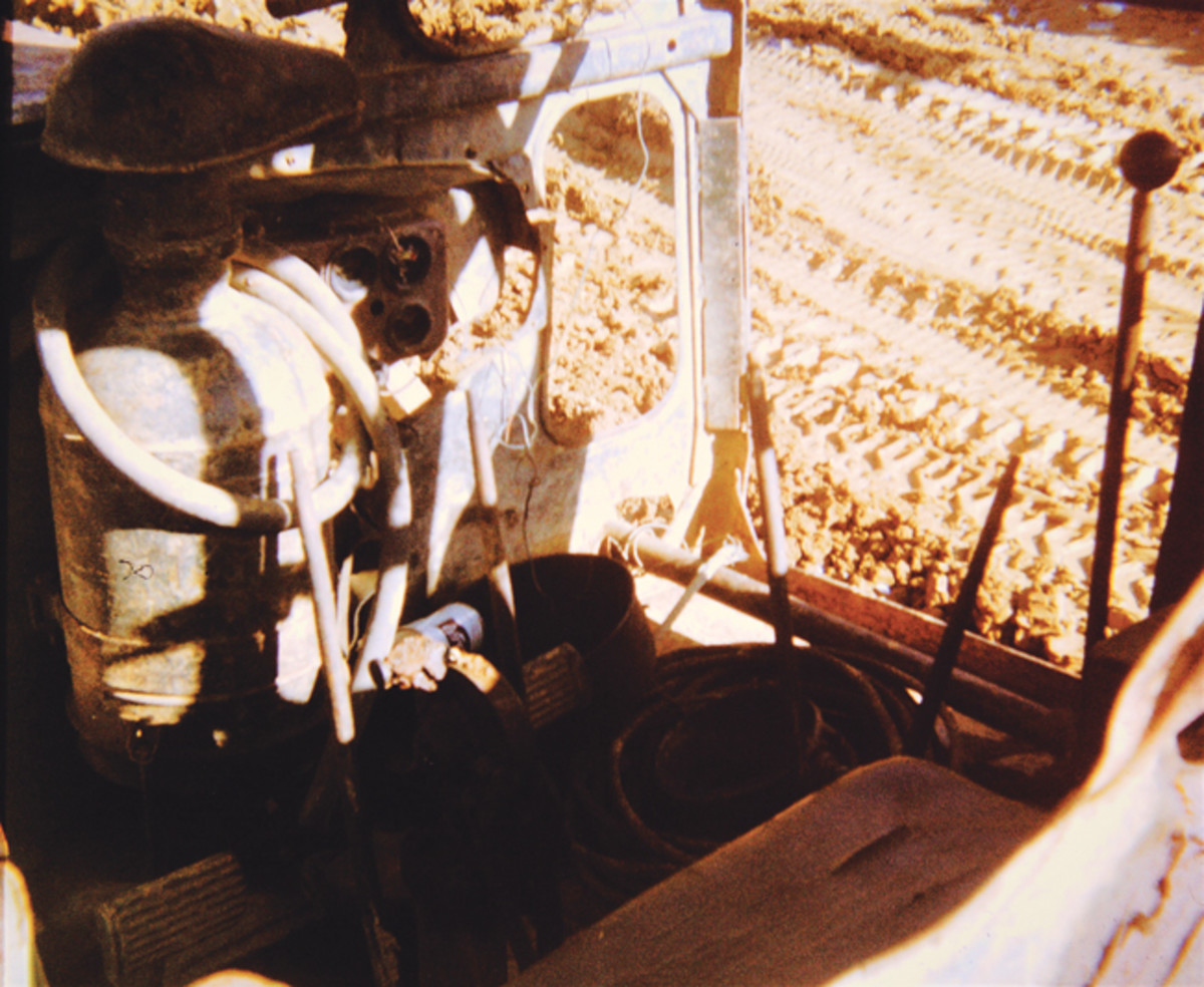 Interior view of operator's station inside the cab of the Soviet copy of American dozer captured in the A Shau Valley by Combat Engineers. Dave Flinn