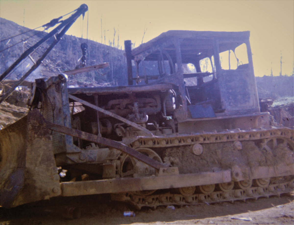 Soviet copy of American dozer captured in the A Shau Valley. Note the dirt packed in the carriage. Dave Flinn