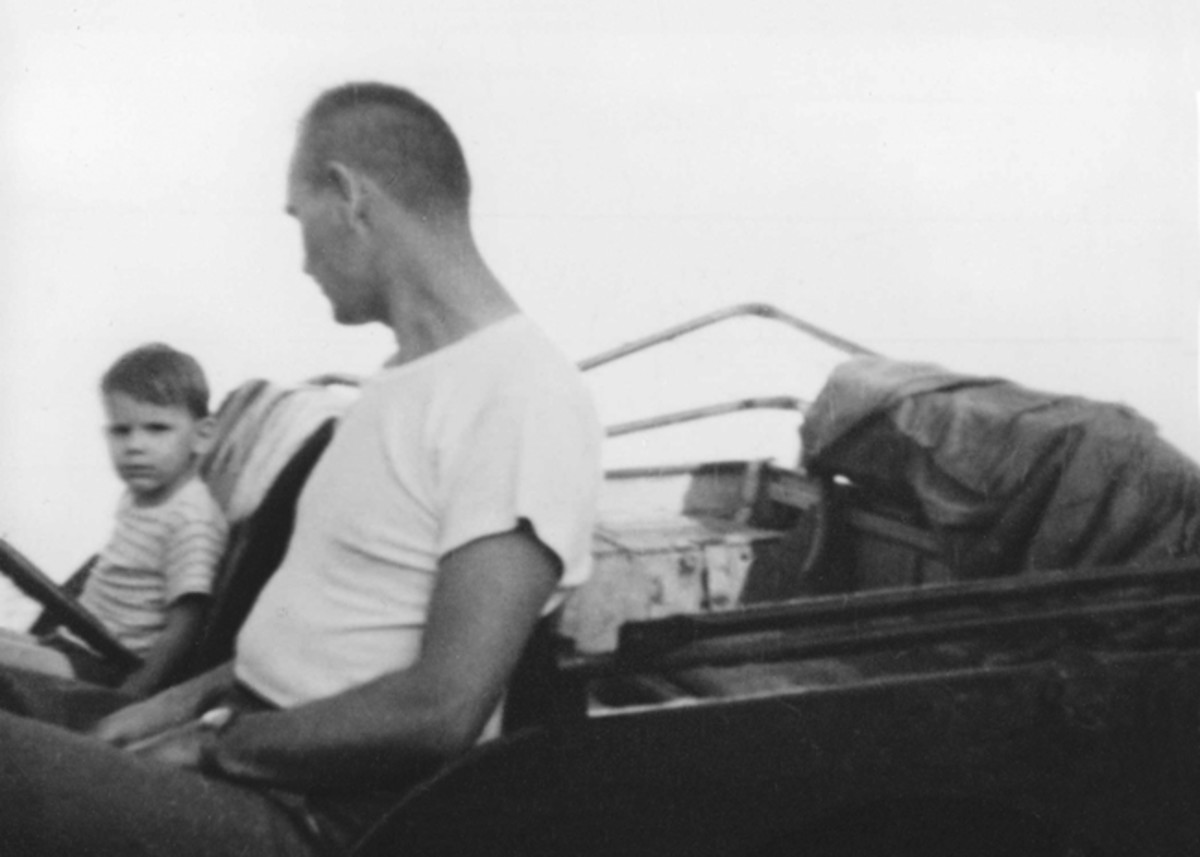 Around 1951, the Bonak family acquired GPW 186956. This photo shows Mike Bonak and his father in the Jeep around 1972.