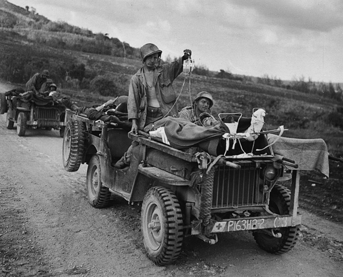 At first, jeeps were simply used as-is to evacuate wounded personnel, with stretchers placed over the vehicles' rear sections and hoods and secured as well as possible, and ambulatory patients sitting wherever they could.