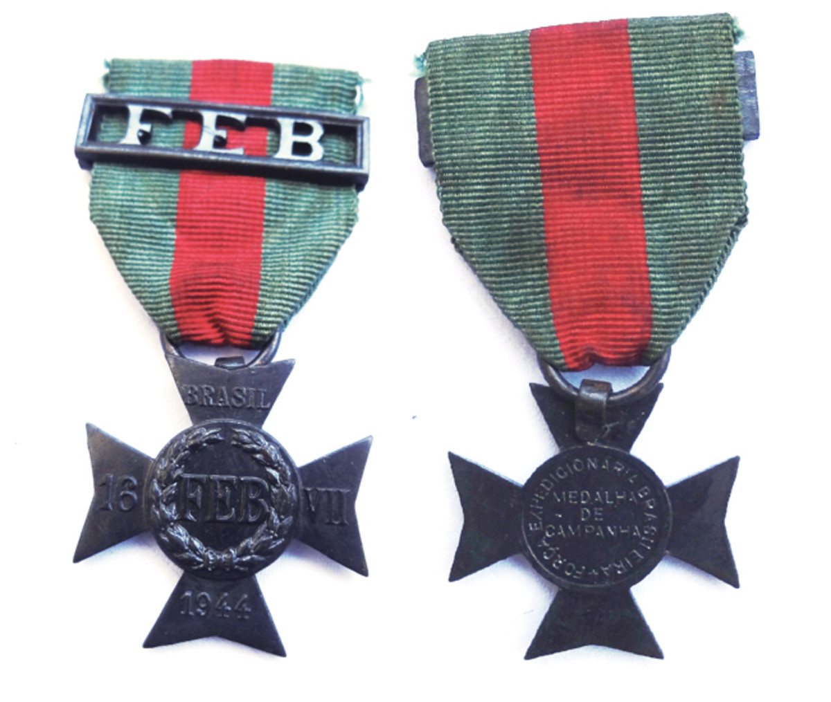 """The date """"16-VII-1944"""" on the Campaign Medal commemorates when the first Brazilian troops arrived in Italy. The ribbon is often seen with a metal clasp with the acronymic """"FEB."""""""