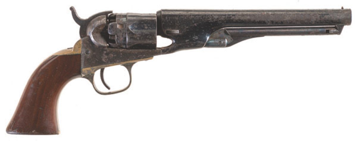 Lot 3076, a Colt Model 1862 Police percussion revolver with holster and inscription on the back strap exceeded the estimate by selling for $8,625.