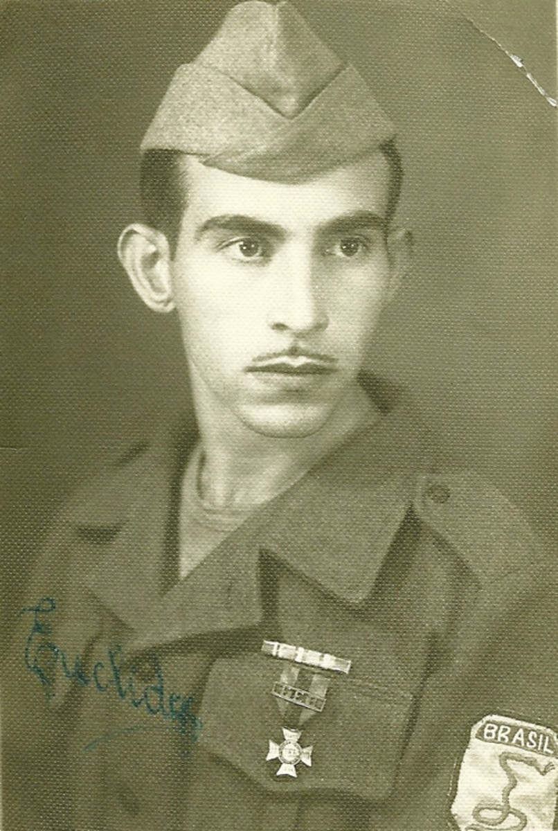 A Brazilian soldier wearing the Campaign Cross and the famous FEB Smoking Snake Division patch.