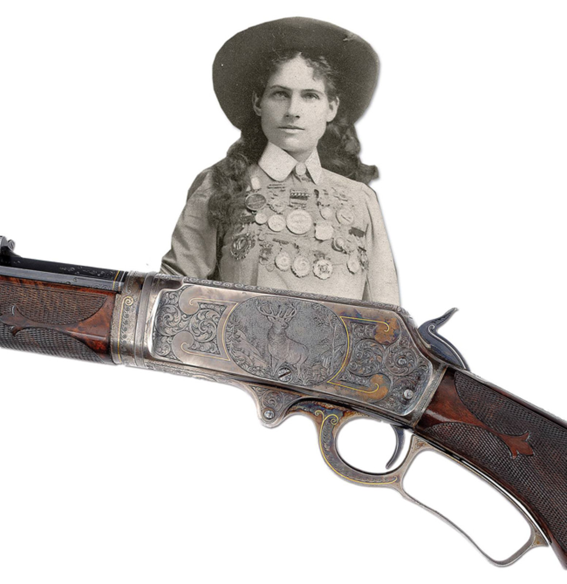 An engraved Marlin 1893 takedown rifle with gold & platinum inlays presented by Marlin to Annie Oakle