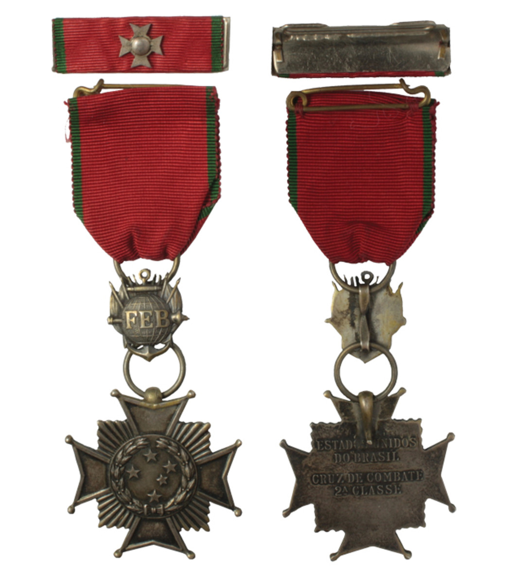 Combat Cross 2nd Class (silvered finish). The ribbon bar has a small cross device in silver finish.