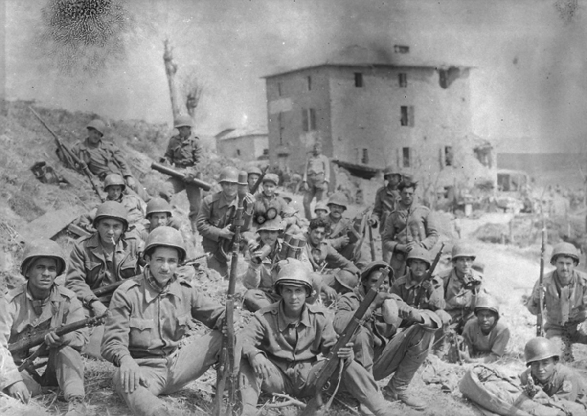Brazilian soldiers from the 5th Company, 6th Infantry Regiment at Montese, Italy, April 1945. The Força Expedicionária Brasileira (Brazilian Expeditionary Force or FEB) was comprised of three infantry regiments and distinguished itself fighting in the Italian theater.