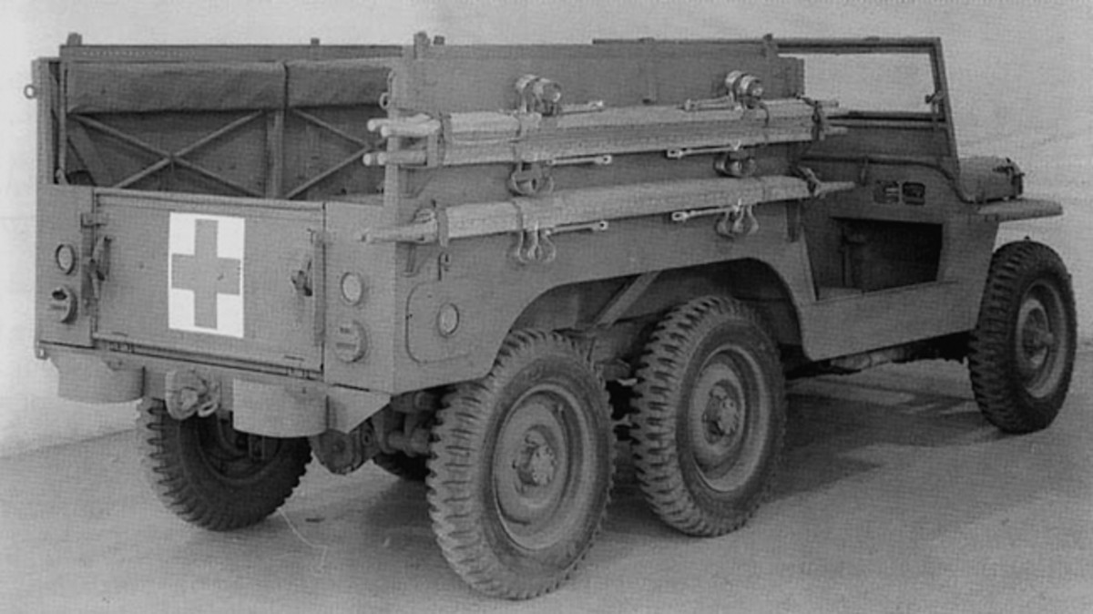"Willys Motors built several versions of a prototype ""TUG"" six-wheel-drive jeep during WWII, one of which was an ambulance model. Although they were well-designed vehicles, they were never put into mass production."