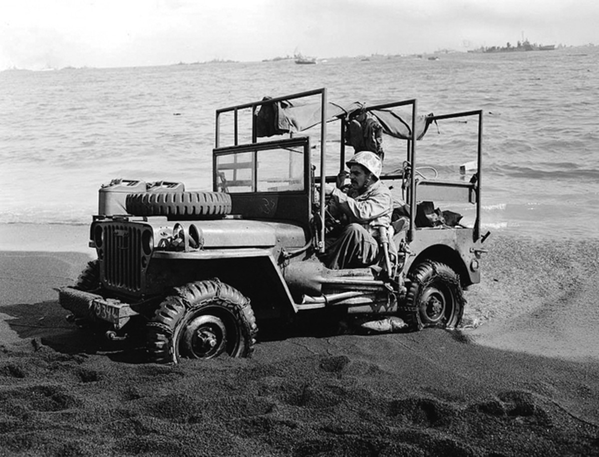Holden jeep ambulances proved very successful during the Pacific Campaign, as evidenced by this unit landed on Iwo Jima.