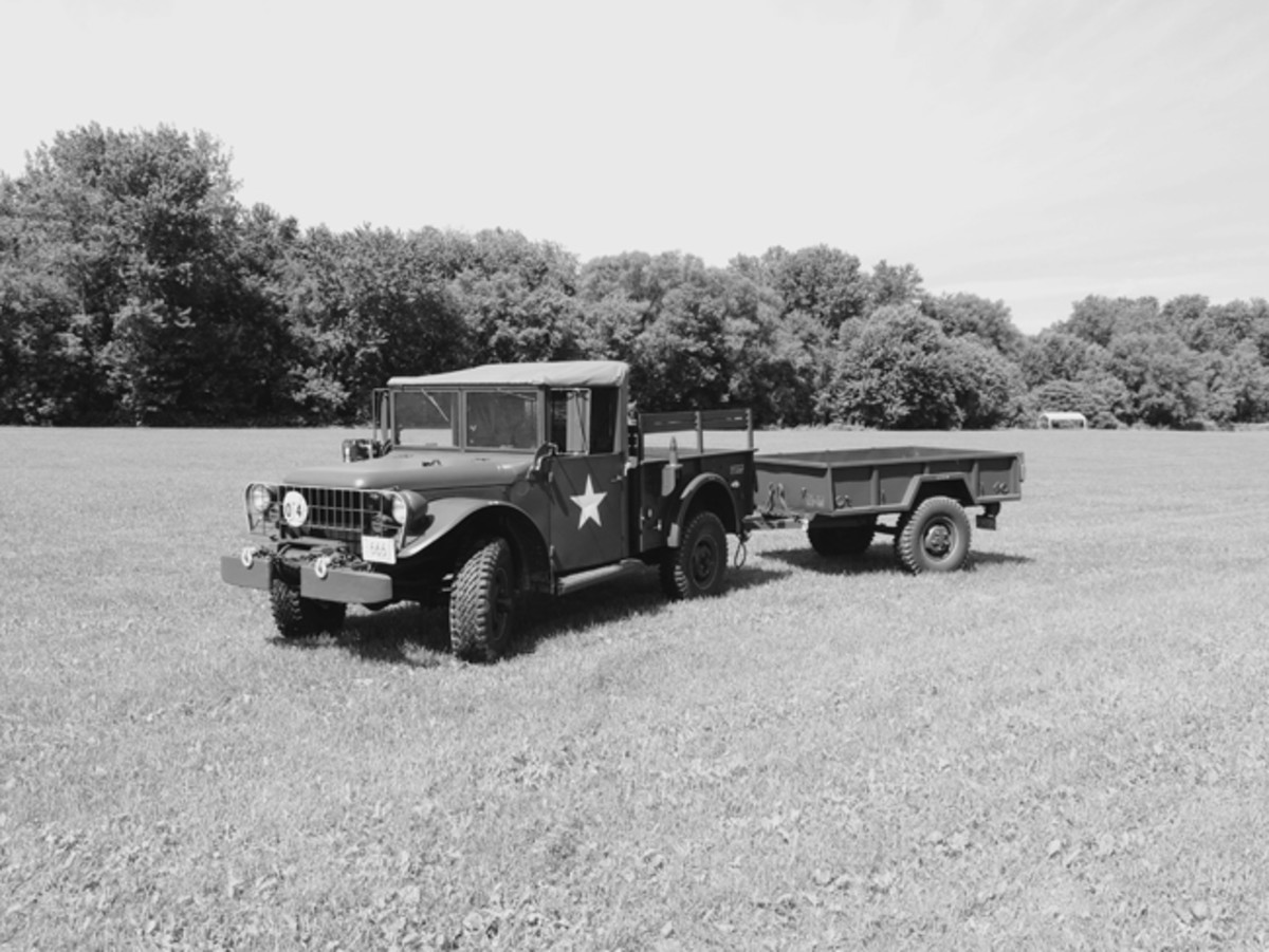 """Lawrence Thurber wrote, """"I am sending in this picture of my son's 1951 M37 with M101 trailer. Jake purchased the truck from GSA in December 2011. He started the restoration in the spring of 2012. He sourced parts from many suppliers but the majority of the NOS parts came from George Mainieri's Vermont Commercial Salvage (see MVM no 59, Jan/Feb 1997). George wasa great friend and mentor to Jake and his brother, Jon. George passed away in 2015. The brothers continue to work together restoring and maintaining their many military vehicles."""""""