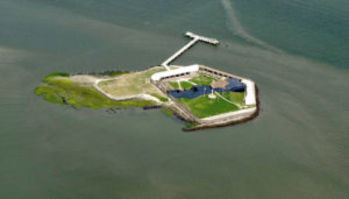 Fort Sumter National Monument encompasses three sites in Charleston: the original Fort Sumter, the Fort Sumter Visitor Education Center, and Fort Moultrie on Sullivan's Island. Access to Fort Sumter itself is by private boat or a 30-minute ferry ride from the Fort Sumter Visitor Education Center or Patriots Point.