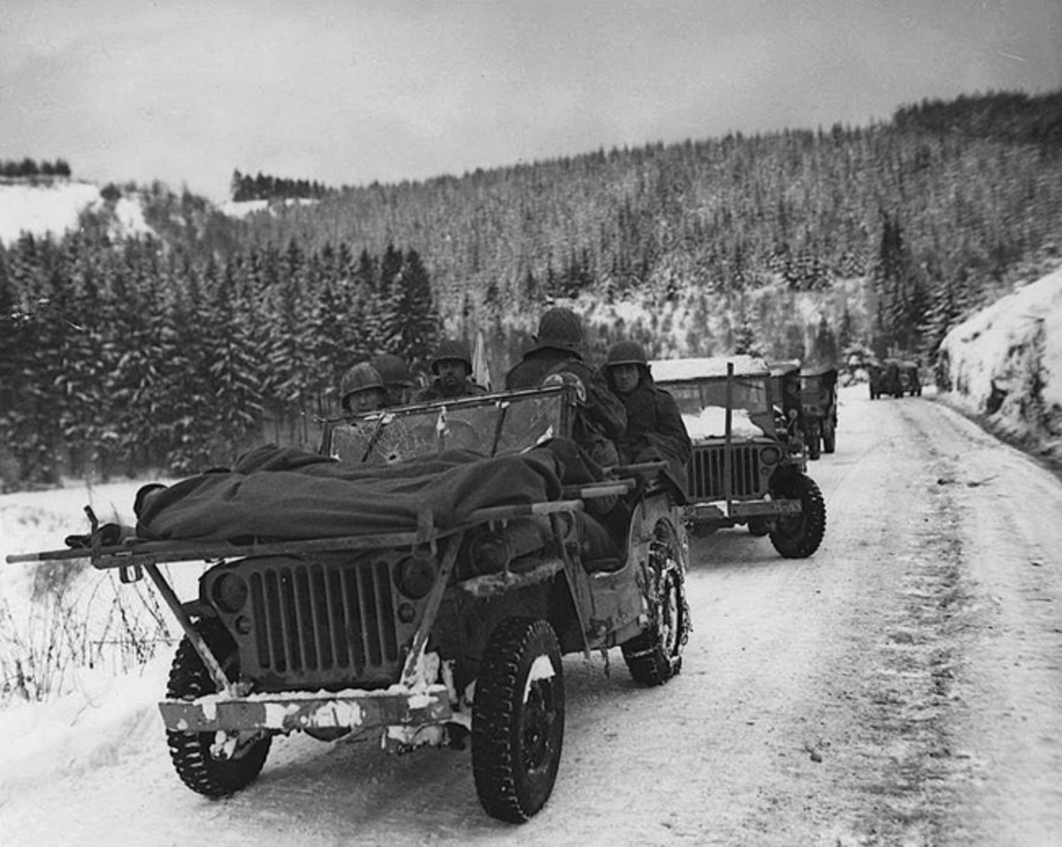 Although not originally designed or intended for use as an ambulance, the jeep's small size, low profile, and capabilities in rough terrain made it an ideal vehicle for evacuating wounded soldiers from front-line combat areas.