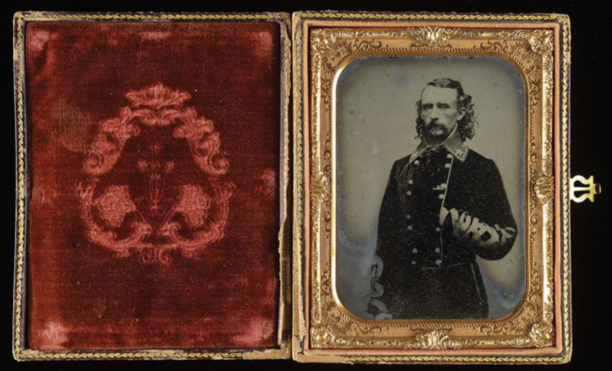 General George Custer Armstrong half-plate ambrotype from still life dated September 1863, the finest and most iconic and historic of all Custer photographs