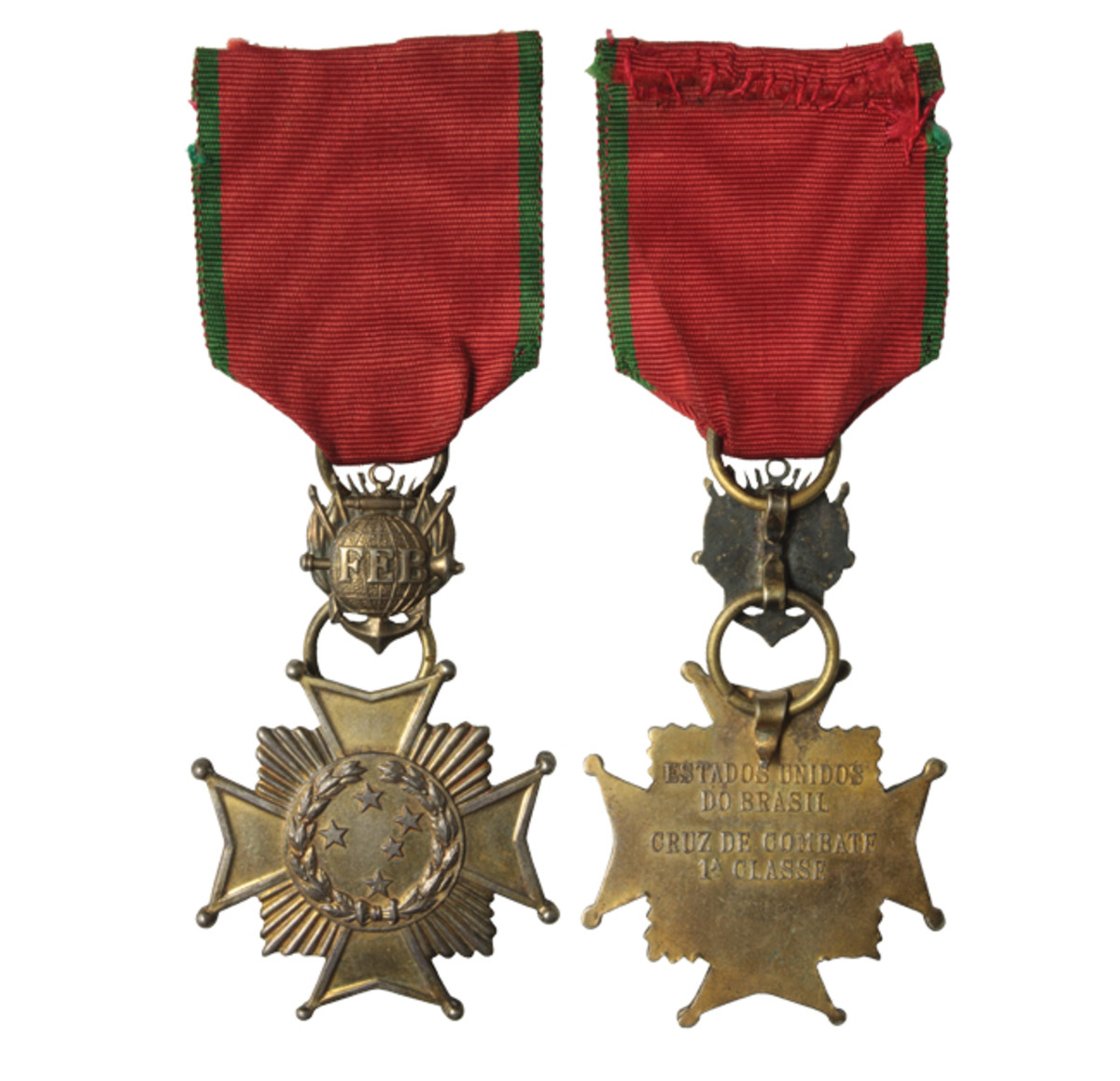 Combat Cross 1st Class (golden finish. It is very similar to the 2nd Class  except for their colors and inscriptions on the reverse. The ribbon bar has a small cross device in golden finish.