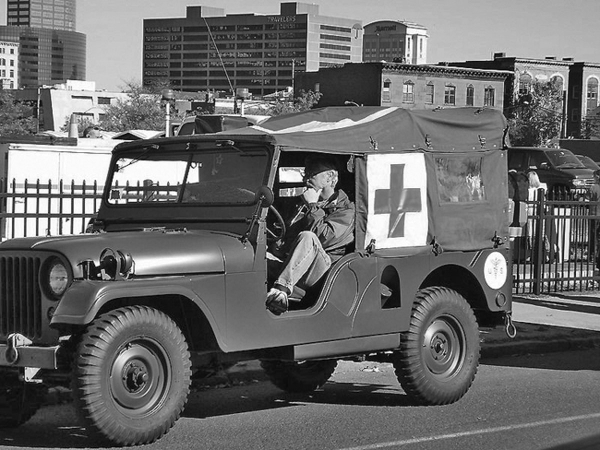 Even though it took Gary two years to restore (with help from area body shop and numerous parts dealers), not much gets more attention than a military ambulance! Here, Gary is seen driving his 1954 M170 in the Hartford (Connecticut) Veterans Day parade.