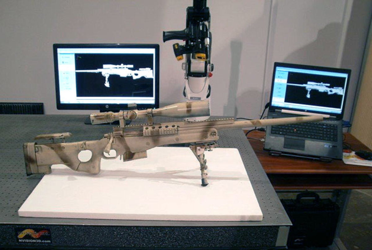 Actual Kyle rifle with scanned images in background.