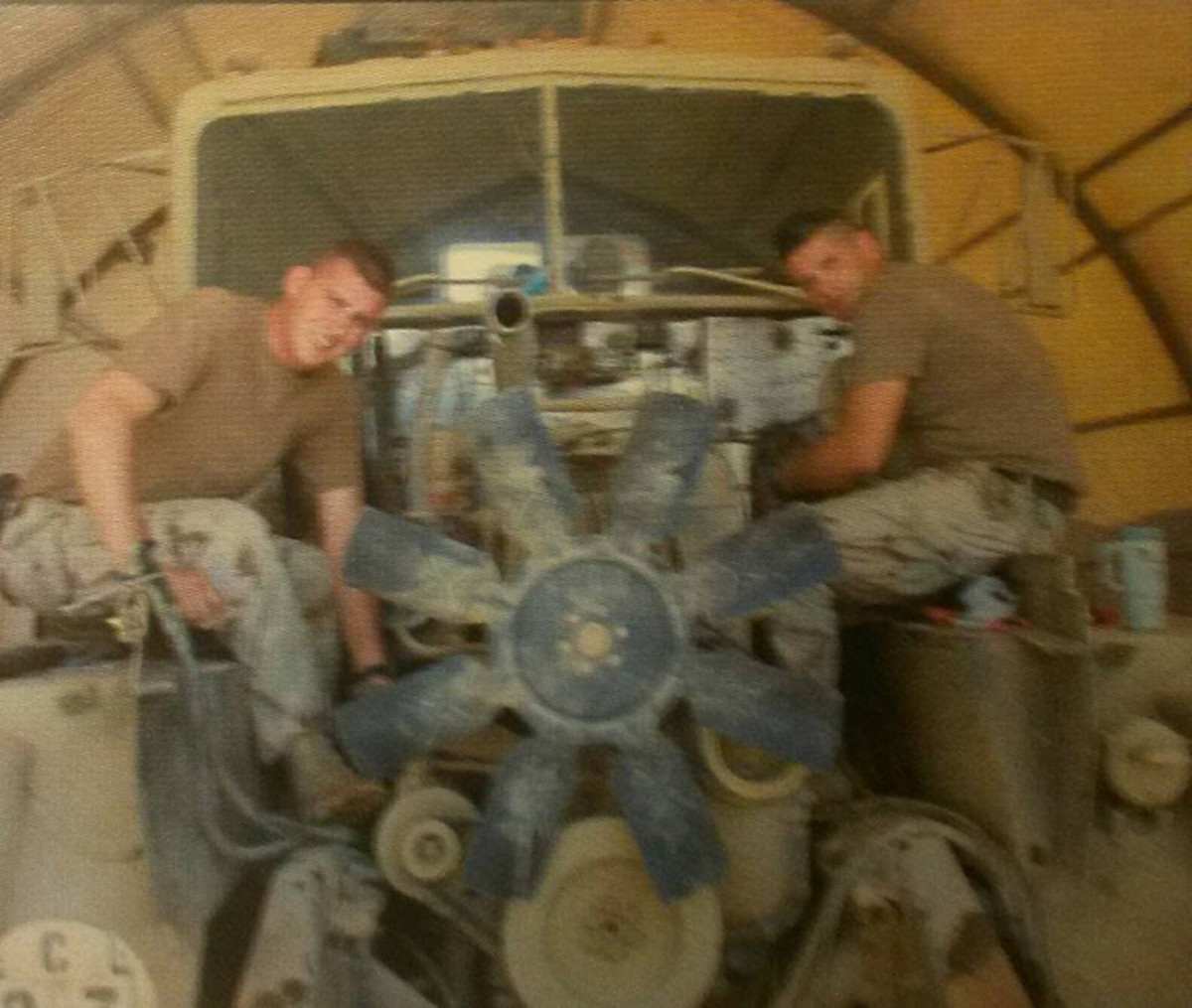 Wendy Anderson sent this photo of an M916 engine replacement. She photographed it while serving in Co. C, 224th Engineer Bn.