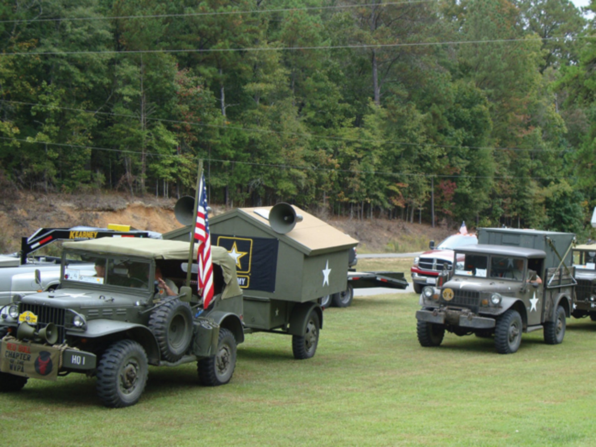 John Varner's WC-56 is equipped with a stereo system, including large speakers. His Ben Hur trailer is modified with living quarters. Dan Toland's M37A1 is modified with lock out hub, and electric fuel assist pump. His commo box is outfitted as a camper. Both vehicles took part in the 2015 Bankhead Convoy.