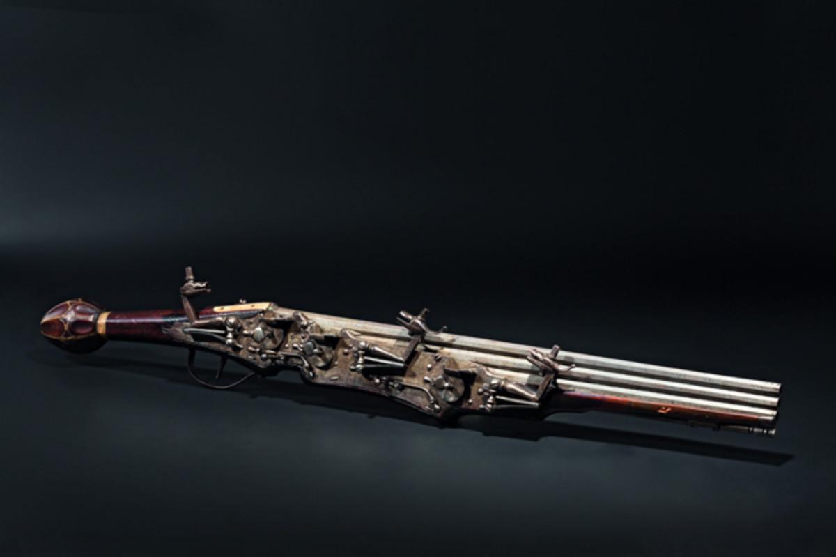 A significant German three-shot wheellock pistol, circa 1610.