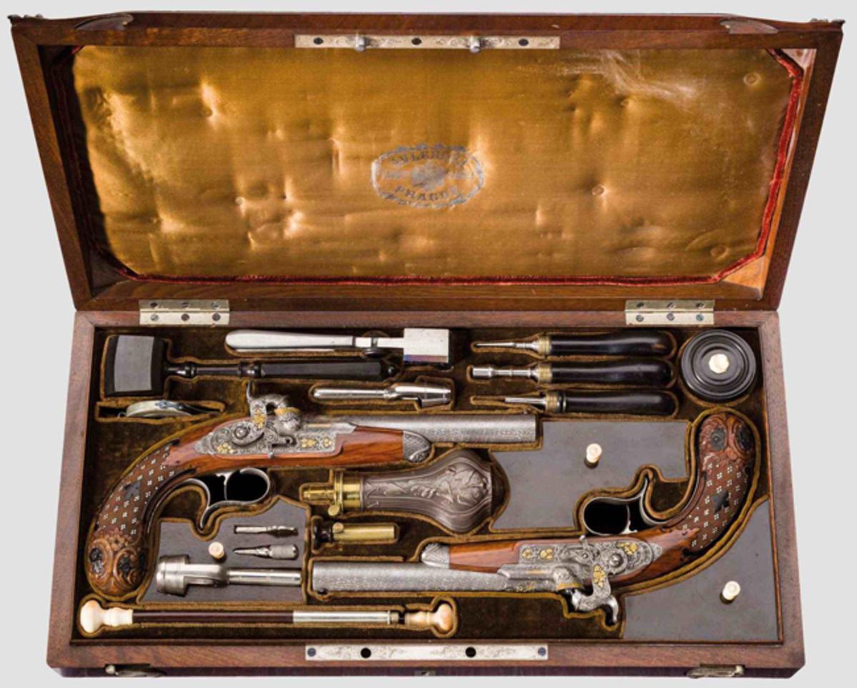Pair of deluxe percussion pistols, Anton Vincent Lebeda, Prague, ca. 1850.