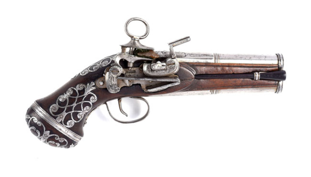 Scarce Spanish Double Barrel Superposed Ripoll Miquelet Pistol