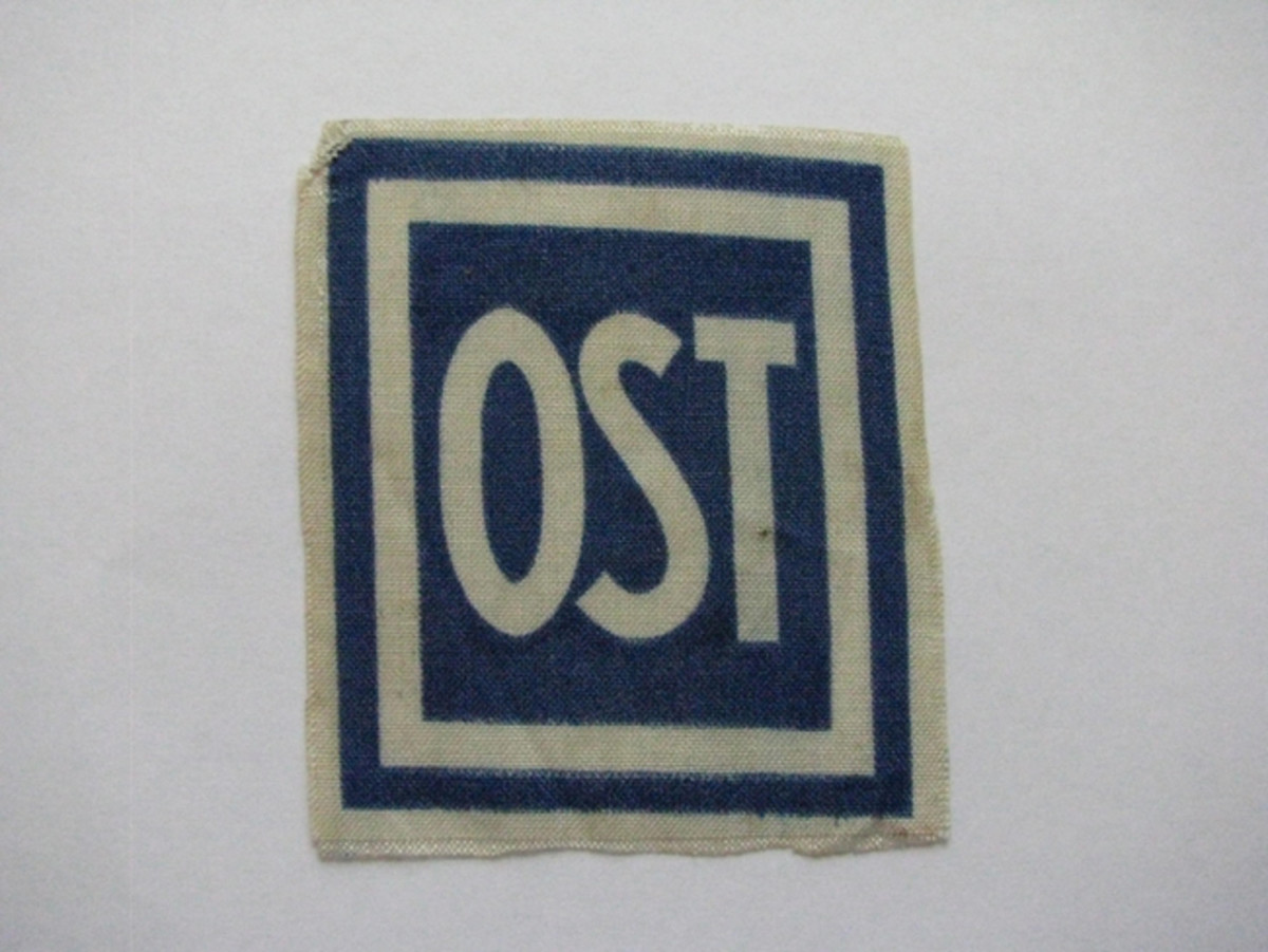 "Eastern workers were required to wear the ""OST"" patch on their clothing to differentiate them from their German co-workers."