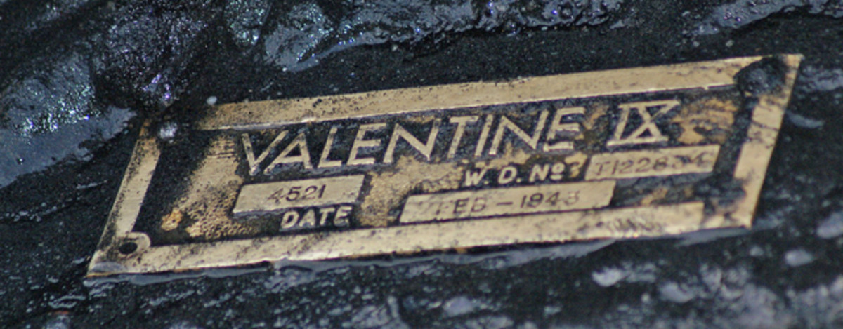 The brass data plate confirms the Valentine IX's 1943 build date.
