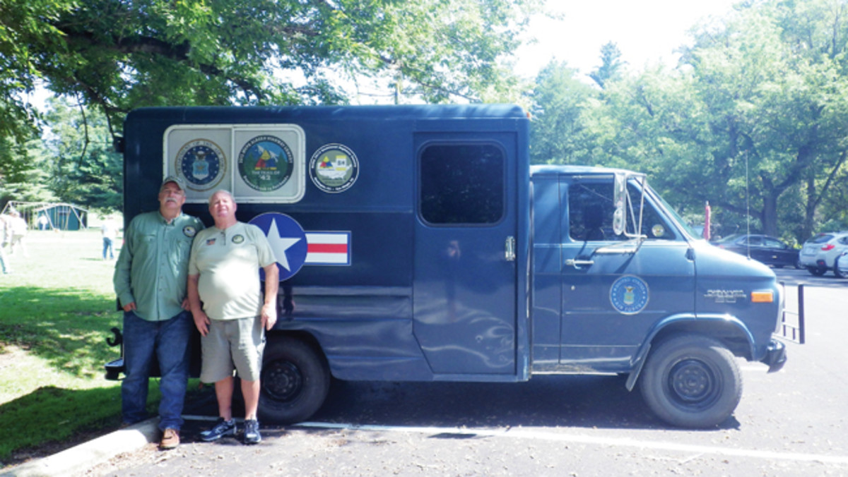 """A veteran of 3 MVPA convoys, Henry """"Pat"""" Underwood modified his Chevy G30 Air Force van, with living quarters including bunk, stove, refrigerator, air conditioner, heater, bath room. Pat has driven this vehicle more than 45,000 miles in the past 6 years."""
