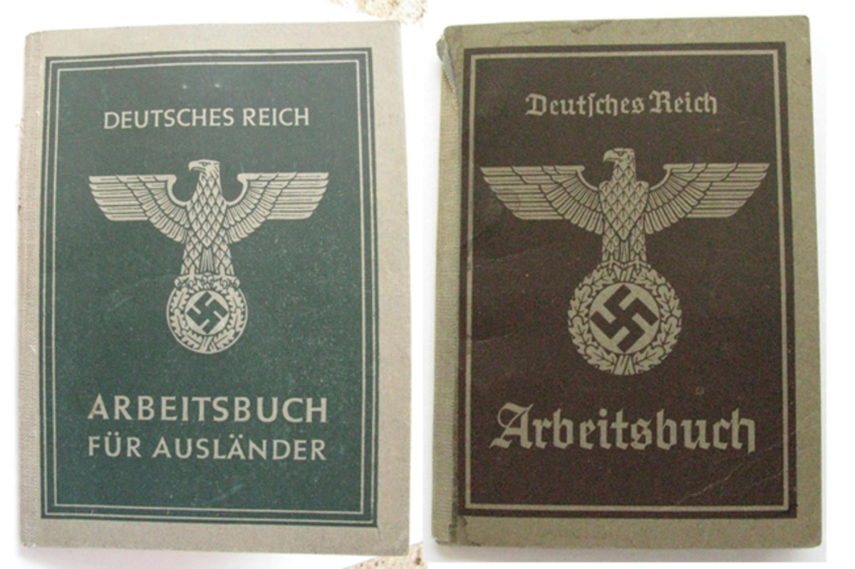 "The cover of a foreign workers Arbeitsbuch is similar to a German citizens' book, with the exception of a smaller national eagle, green in color rather than brown, and the addition of the words ""Für Ausländer"" (for foreigner) on the bottom of the cover."