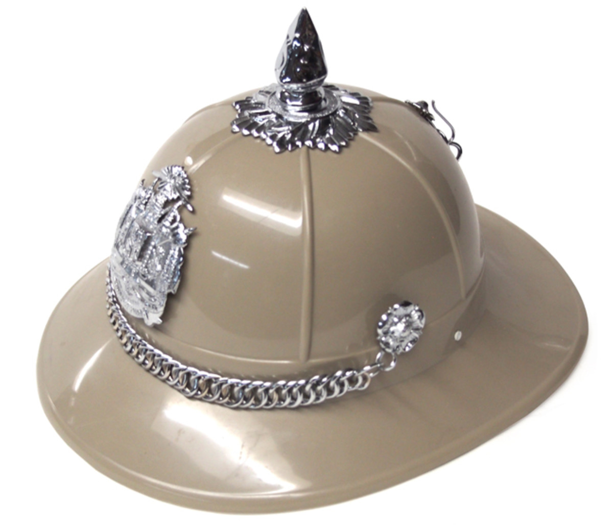"A modern ""sun helmet."" This Thai military police helmet is actually made of plastic rather than cork or pith. It likely is more ideal for the high humidity of Thailand, but it lacks the style and flare of the cork helmets."