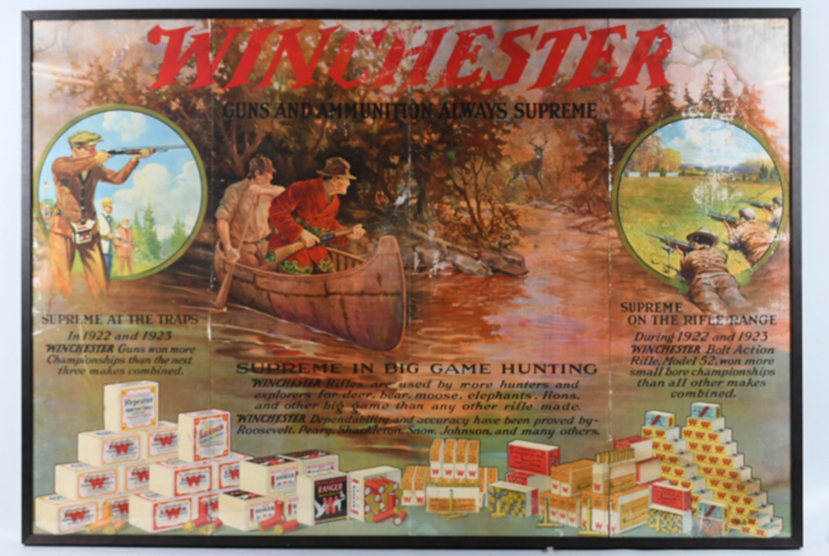 Huge Winchester cardboard triptych ad, 1924, framed, 37½ x 55 inches (sight), bright and clean.