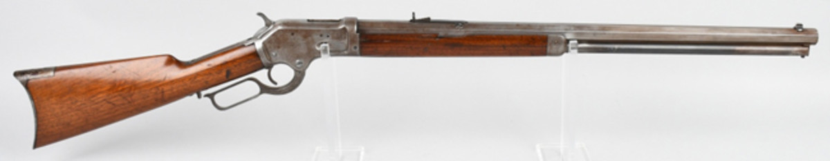 Scarce Colt Burgess lever-action rifle, .44-40 cartridge, 24-inch octagon barrel introduced in 1883, small production run.