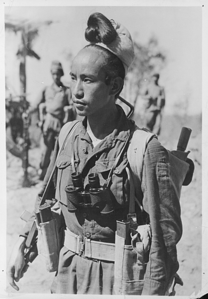 February 1945 image of a Burmese Havildar (sergeant) of the Lushai Brigade on the advance Mandalay.