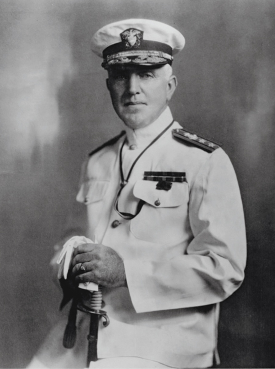 Vice Adm. Harley Hannibal Christy, photographed in June 1929. At that time, he was Commander Battleship Division. Earlier in his career, at the rank of captain, Christy took command of the armored cruiser San Diego (ACR-6) and was with her when she was sunk in July 1918. U.S. Navy Photo courtesy of Naval History and Heritage Command