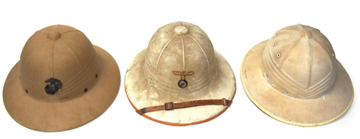 Sun helmets made of pressed fiber materials offered an alternative to cork or sola pith helmets – these were far cheaper to make while production was no doubt much faster. From left to right: an American WWII era USMC helmet; a German Kriegsmarine sun helmet, a pattern introduced circa 1937; and a rare French made pressed helmet from the early 1950s. These were rejected in favor of sola pith helmets produced in the French Indo-China colonies – and in the long run that didn't work out too well for the French!