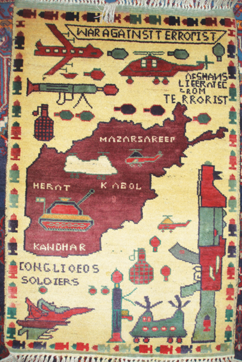 After the United States entered the conflict in Afghanistan, the rug market produced samples with imagery that would appeal to American soldiers.