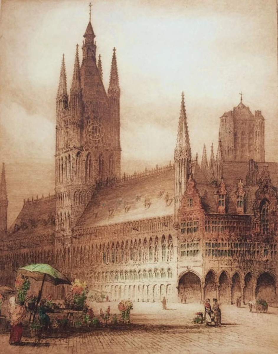 Ypres – This etching depicting Cloth Hall in Ypres was reproduced in the December 1915 issue of The Outlook. The building was heavily damaged during WWI before eventual restoration.