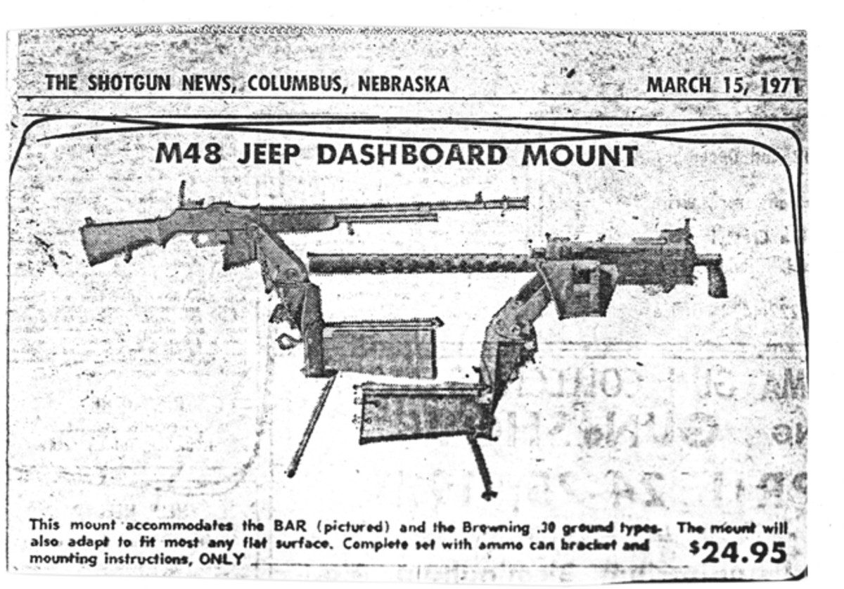 This is the original ad from Shotgun News in which I discovered my M48 machine gun mount. Originally it was advertised for $25, then it went up to $50. When it hit $75, I figured I had better buy it!