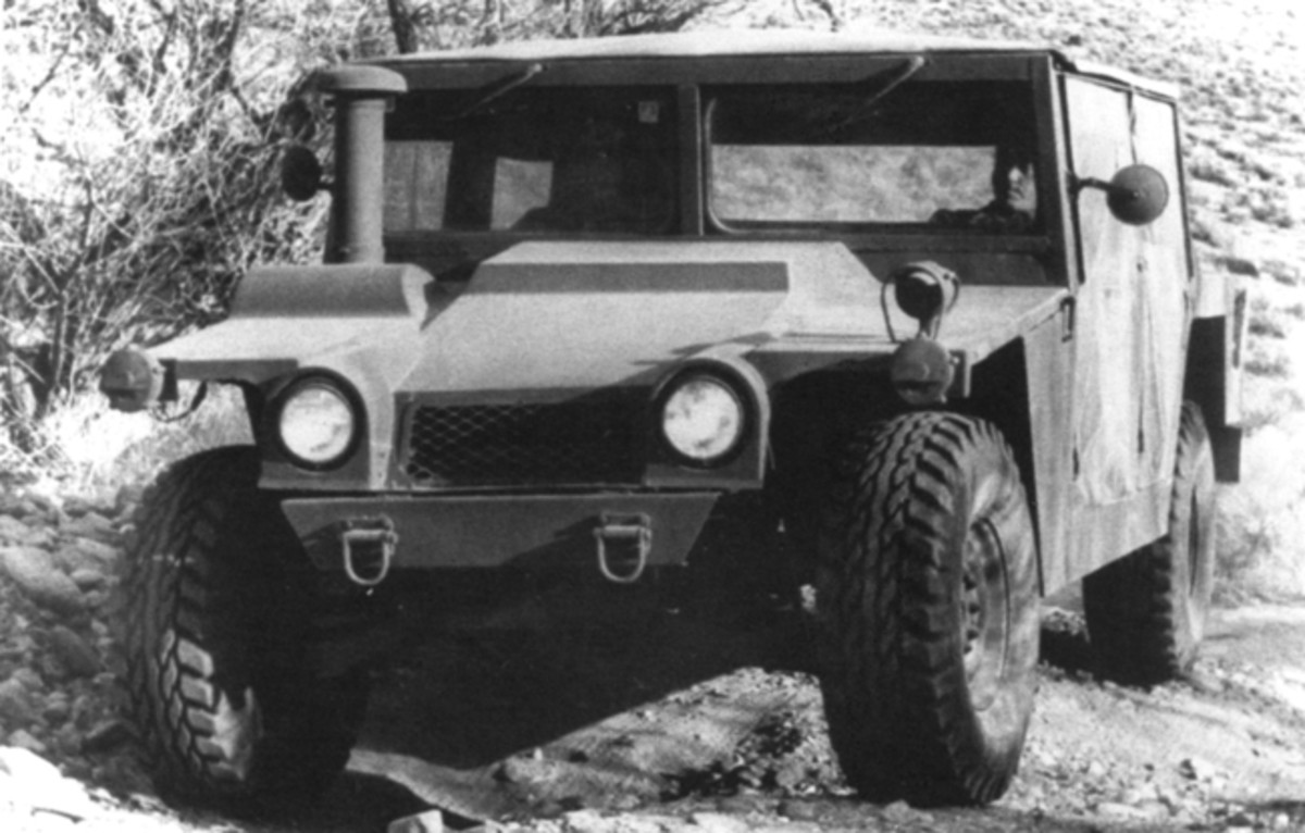 This is the initial AM General HMMWV prototype. As can be seen by comparing this truck to the current vehicle, the basic form of the vehicle did not change much, although details such as the front-end treatment certainly did. Unlike later models, this truck was powered by an air-cooled diesel.