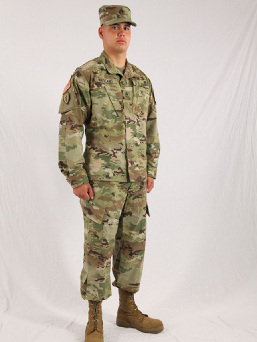 A U.S. Army soldier wearing anArmy Combat Uniformusing the Operational Camouflage Pattern. As of October 1, 2019, this pattern is the official camouflage of the US Army.