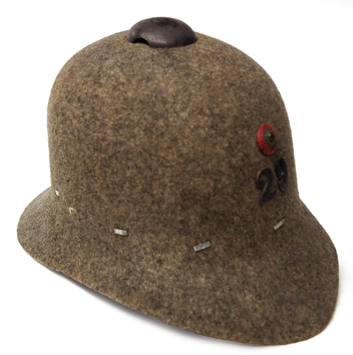 A Portuguese Model 1913 felt helmet – these were originally designated for use by the Metropolitan Army of Portugal, but were also used by Portugal's colonial forces in Africa in World War I.
