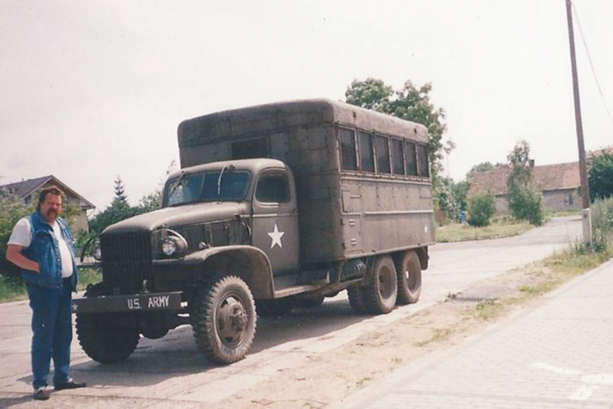 Honza Trubáek sent this photo taken in 1982 showing himself with a WWII CCKW shop van.